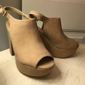 Bamboo chunky platform heels